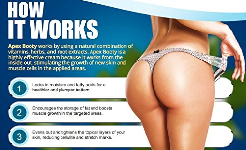Apex Booty Butt Enhancement - Booty Enlargement Cream, Cellulite Reducer and Butt Lifter | Natural Buttocks Shaping | Get Major Sexy Curves | Hip Enhancer