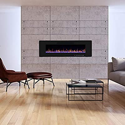 R.W.FLAME Electric Fireplace, Recessed Wall Mounted and in-Wall Fireplace Heater, Remote Control with Timer, Touch Screen, Adjustable Flame Colors and Speed, 750/1500W