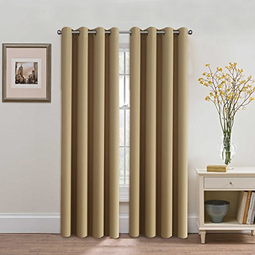 H.Versailtex Three Pass Microfiber Blackout Thermal Insulated Grommet Panel Window Curtains / Drapes (Set of 2 Panels,52 x 96 Inch,Beige) - Panels Drapes Set