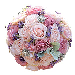 Silk Wedding Bouquet Artificial Home Party Deco Flowers Bridal Bouquet Rose and Pink Hydrangea Wedding Bouquets FE42 100