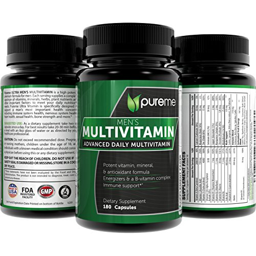 Pureme Mens Daily Multivitamin Supplements with Vitamins C, D, E, B12, 180 Capsules