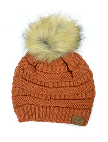 (Plum Feathers Soft Stretch Cable Knit Ribbed Faux Fur Pom Pom Beanie Hat (Rust))