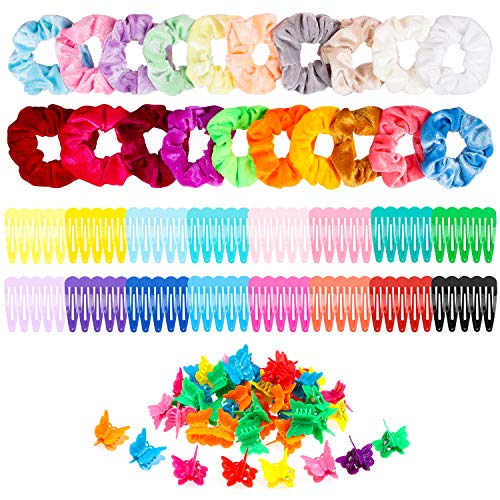R HORSE 150 Packs Velvet Hair Scrunchies Hair Snap Clips Set 20Pcs Velvet Hair Scrunchies 80Pcs Candy Color Snap Clips 50Pcs Mini Butterfly Claw Clips Hair Barrettes Hair Accessories for Women Lady