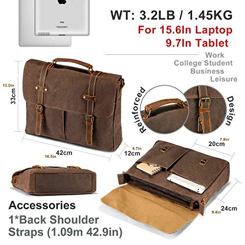 e14364ccb3d2 Mens Messenger Bag Waterproof 15.6   Vintage Waxed Canvas Computer Bags  Genuine Briefcase Laptop Satchel