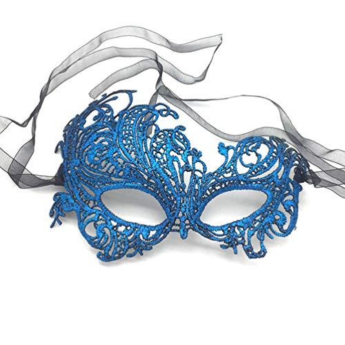 iMapo Masquerade Masks, Women's Sexy Lace Venetian Style Eye Mask for Opera Halloween Dancing Evening Party Costume Ball - Phoenix (Vintage Blue) ()