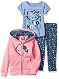 Hello Kitty Little Girls' 3 Piece Hooded Legging Set, Pink/Blue, 6