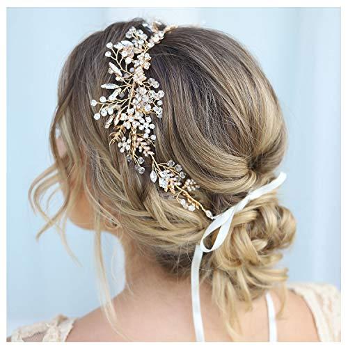 SWEETV Gold Rhinestone Wedding Headband Handmade Hair Band Bridal Headpiece Hair Accessories for Brides Bridesmaid (Bridal Wreath Headband)