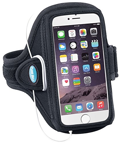 Armband for iPhone 6 6s 7 8 Plus, Samsung Galaxy Note 8 and S8 Plus - for Running, Jogging & Working Out - Water Resistant - for Women & Men [Black] See Fit Details by Tune Belt (Image #1)