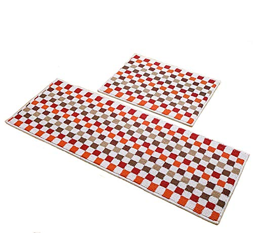 "Easychan 2 Piece Carpet Rubber Backing Non-Slip Kitchen Rugs Mat Doormat Area Rugs (17""x23""+17""x47"", Red Mosaic)"