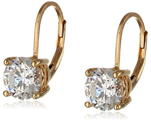 Yellow Gold Plated Sterling Silver Swarovski Zirconia Lever Back Earrings