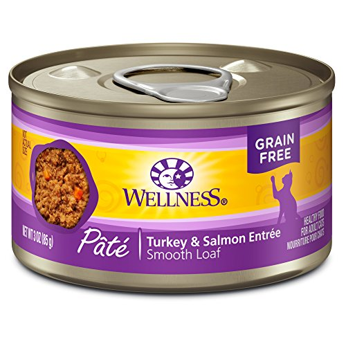 - Wellness Natural Grain Free Wet Canned Cat Food, Turkey & Salmon Pate, 3-Ounce Can (Pack of 24)