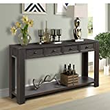 P PURLOVE Console Table for Entryway Hallway Easy Assembly 64' Long Sofa Table with Drawers and Bottom Shelf (64', Distressed Black)