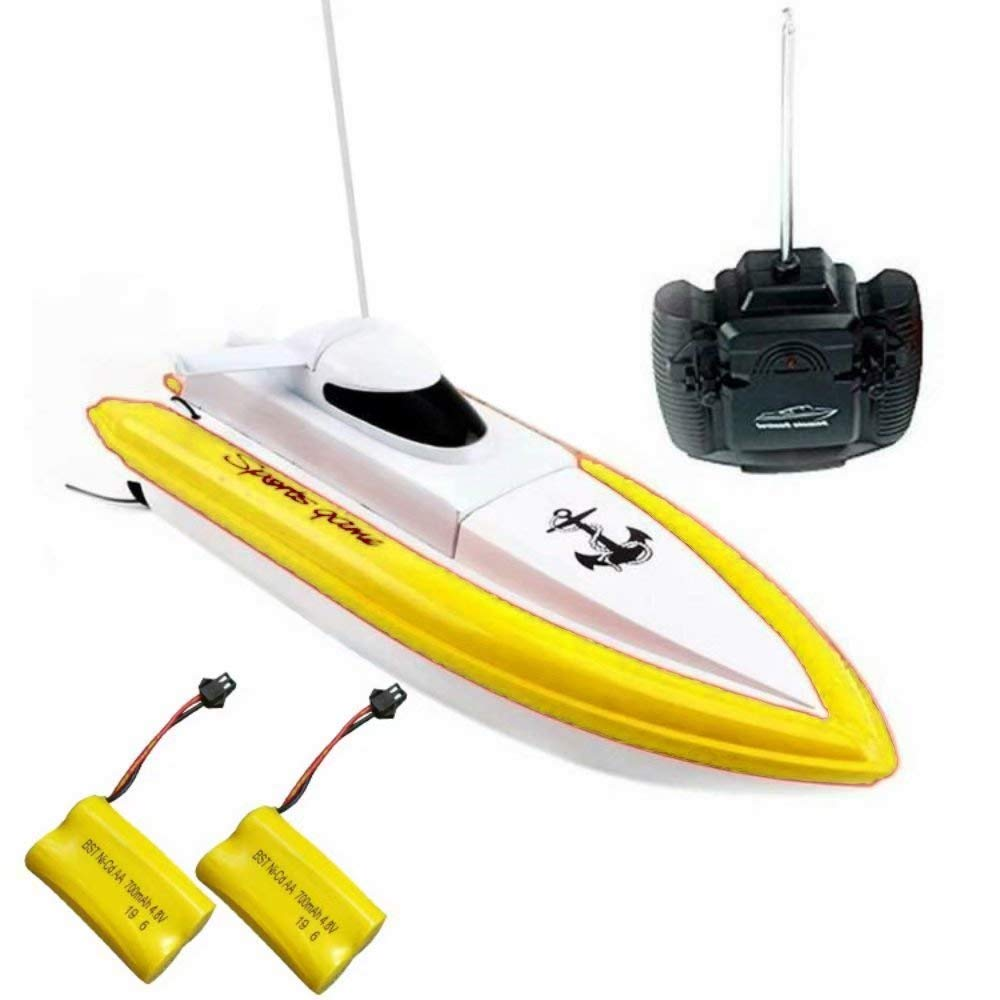 TOYEN 1 RC Mini Remote Control 2.4GHz Outdoor Pools Lakes Racing Boats Electric Toys for Kids, Yellow