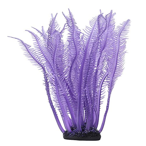 Artificial Coral Silicone Ornament Fish Tank Decor for Aquarium Underwater Fish Tank Garden Lands(Purple)