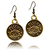 Stay Calm'PISCES' Zodiac Sign Astrology Horoscope Hook Earrings Birthday Gift - All 12 Sun Signs Available (Pisces)