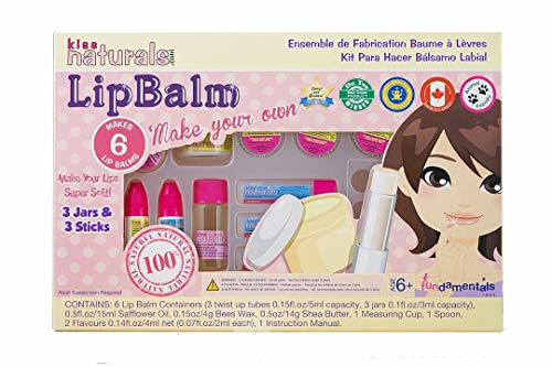 Kiss Naturals Lip Balm Kit - Organic DIY Lip Balm Making Kit for Kids - 100% Safe and Organic Creative Kit for Girls and Boys