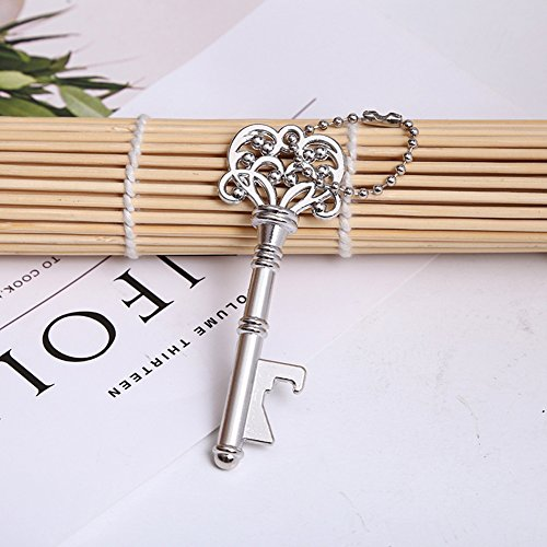 Youkwer 50PCS Skeleton Key Bottle Opener with Keychain for Wedding Party Favors & Decorations (Antique Copper&Silver)Silver