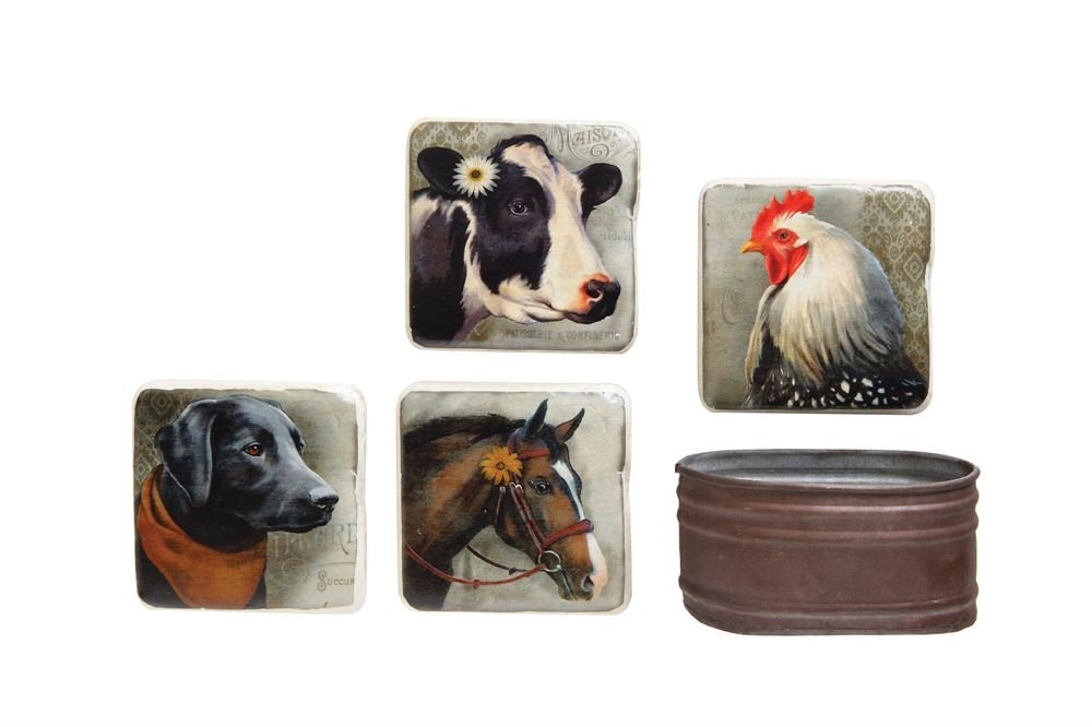 Various Farm Animal Portraits In Rustic Container 4 x 4 Metal Coasters, Set of 4
