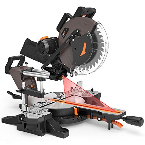TACKLIFE Sliding Compound Miter Saw 12-Inch, 1700W, 3800rpm, Double-Bevel Cut (-45°-0°-45°) with Laser Guide, Extensible Table, Dust Bag, 40T 305mm Blade for Wood Cut - PMS03A (Best Miter Saw Laser Guide)
