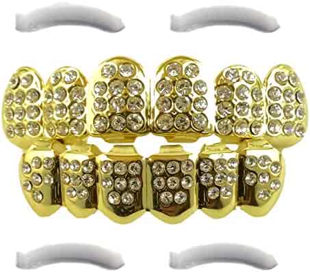 14K Gold Plated Iced Out Grillz with CZ Diamonds - Top and Bottom Set + 2 EXTRA Molding Bars Included