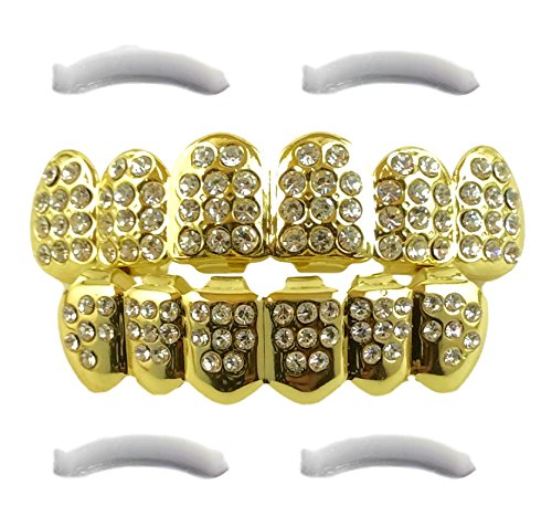 Diamond Grillz 24K Plated Gold for Mouth Top Bottom Hip Hop Teeth Grills for Teeth Mouth + 2 Extra Molding Bars, Storage Case + Microfiber Cloth (CZ Diamonds)