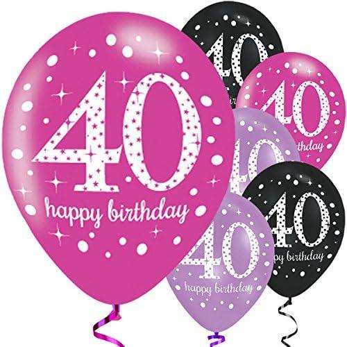 Rundherum bedruckte Luft Ballons pink lila schwarz Happy Birthday Geburtstag NEU