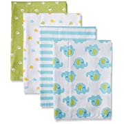 Gerber Baby Unisex 4 Pack Print Flannel Burp Cloth, Elephant, 20x14
