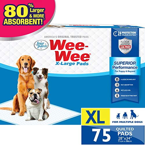 Four Paws Wee-Wee Puppy Training X-Large Size 28″ x 34″ Pee Pads for Dogs