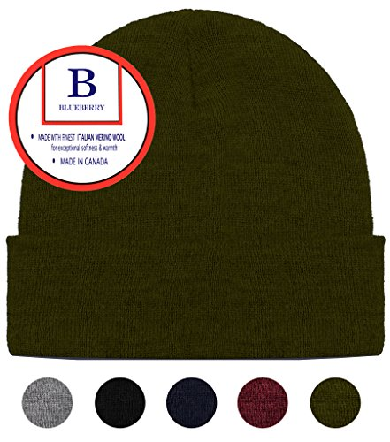 Green Wool Knit - Blueberry Uniforms Olive Green Merino Wool Beanie Hat -Soft Winter and Activewear Watch Cap