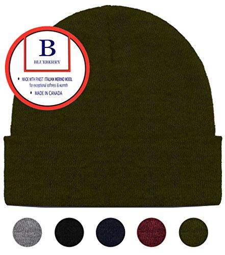 Knit Watch Cap - Blueberry Uniforms Olive Green Merino Wool Beanie Hat -Soft Winter Activewear Watch Cap