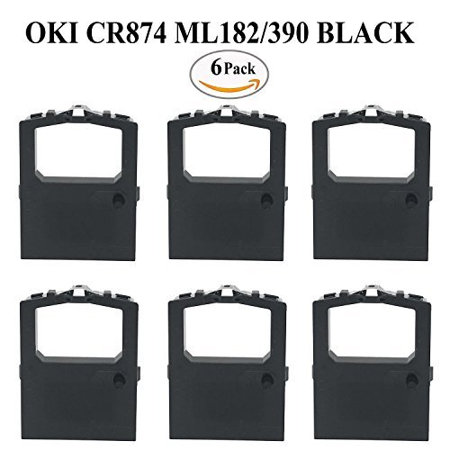 Okidata Microline 320 Turbo Ribbon 6 PACK Oki 52104001 Black Compatible Printer Ribbon for ML180 ML182 ML190 ML320 ML380 ML390