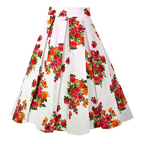 Floral Midi Skirt Pleated - Dresstore Vintage Pleated Skirt Floral A-line Printed Midi Skirts with Pockets Flowers-White-L
