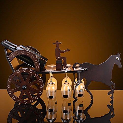 - FEIFEI Wine Racks Horse Car Shape Solid Wood Creative Unique Wine Cabinet Decoration Living Room Restaurant Home Practical Wine Rack