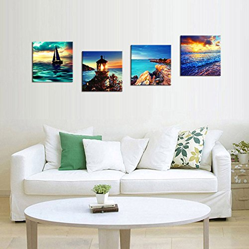 Canvas Wall Art Sunset Sea Beach Painting 12 By 12 4
