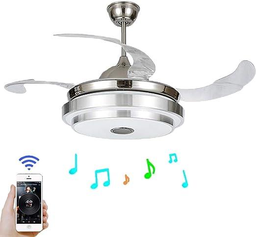 CCLLA Luz de Ventilador Aspas retráctiles Modernas Ventilador de Techo con luz y lámpara de Techo remota Regulable con Bluetooth Luz de Techo de música Plegable: Amazon.es: Hogar