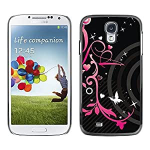 Impact Case Cover with Art Pattern Designs FOR Samsung Galaxy S4 Pink Black Hearts Spring Butterfly Floral Betty shop