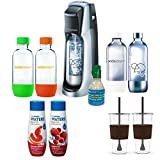 SodaStream Fountain Jet Soda Maker (Black) Exclusive Bundle - Includes 4 Bottles & Mini CO2, 2 x Eco-First 24Oz To-Go Cups, Waters Zeros Pink Grapefruit and Berry Zero Calorie Drink Mixes