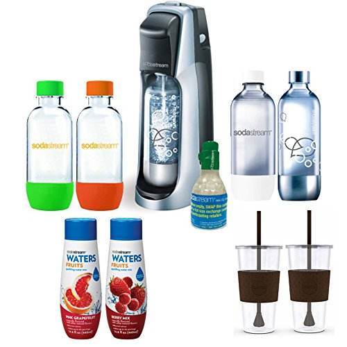 SodaStream Fountain Jet Soda Maker (Black) Exclusive Bundle - Includes 4 Bottles & Mini CO2, 2 x Eco-First 24Oz To-Go Cups, Waters Zeros Pink Grapefruit and Berry Zero Calorie Drink Mixes (Soda Stream Mini Starter Kit)