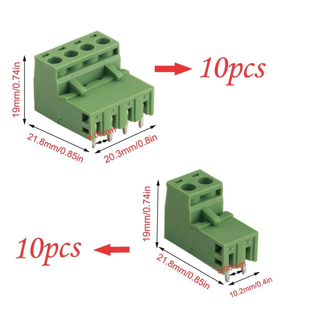 40 pcs, 20 pairs RUNCCI 5.08 mm Pitch 4 Pin 2 Pin Enchufe Tornillo PCB Bloque De Terminales Conector Derecho /ángulo