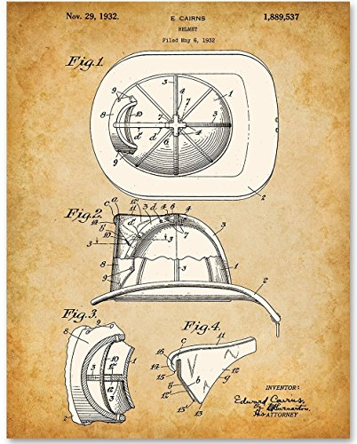 Patented Antique (Firefighter Helmet - 11x14 Unframed Patent Print - Great Gift for Firefighters)