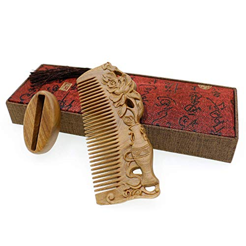 Chinese Wood Comb Handmade Rose Carved Craft Thick Natural Green Sandalwood Exotic Hair Comb Gift-Anti-Static and No Snag with Bag & Box (Flower Vase Comb with ()