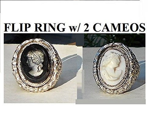 Large Cameo Flip Ring w/ 2 Cameos, Vintage Hand Carved Shell Cameo & Black Glass Intaglio Cameo. Ornate Silver Tone Sarah Coventry Band Adjustable. One of a Kind!