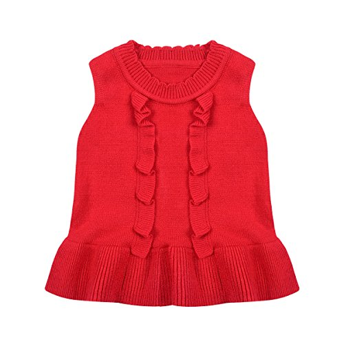 Sweater Vest Baby Toddler Girl Crew Neck Knit Ruffle Cardigan for 1-4 Years-Little Dragon Pig (Size2T, Red) (Ruffle Neck Cardigan)