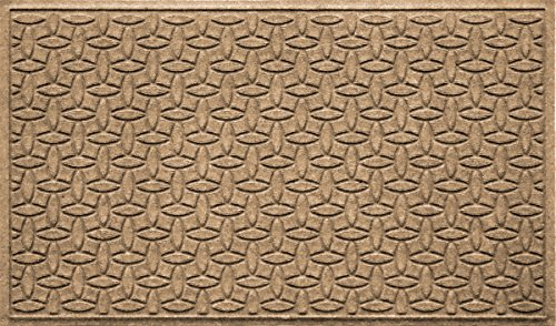 Bungalow Flooring Waterhog Doormat, 3' x 5', Skid Resistant, Easy to Clean, Catches Water and Debris, Ellipse Collection, Khaki/Camel