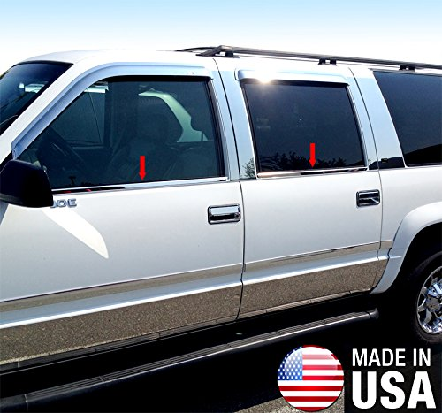 Chevrolet R2500 Suburban Window - Made in USA! Works with 1988-1998 Chevy Suburban 4PC Stainless Steel Chrome Window Sill Trim Overlay
