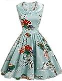 ACEVOG Women's Classy Audrey Hepburn 1950s Vintage Retro Rockabilly Floral Swing Dresses