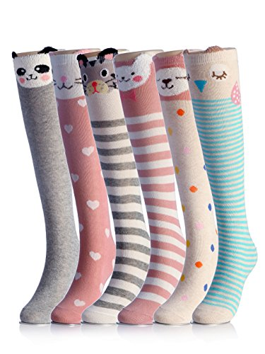 Cartoon Animal Cat Bear Fox Cotton Over Calf Knee High Socks 6Pcs