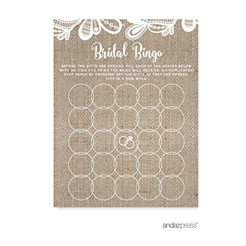 Andaz Press Burlap Lace Wedding Collection, Bridal Shower Bingo Game Cards, 20-Pack