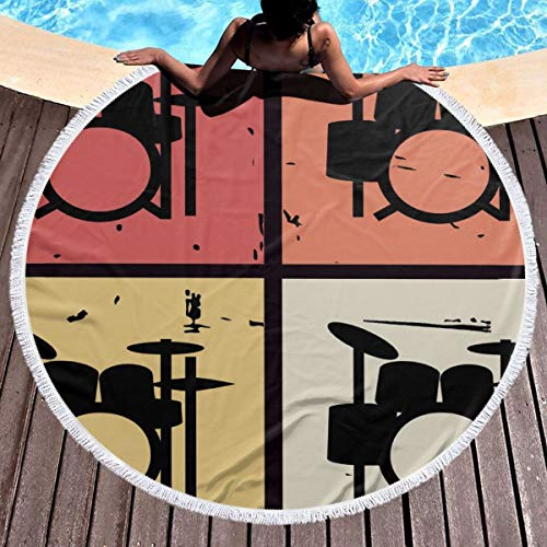 Partrest Round Beach Towel Blanket Retro Vintage Drum Kits Circle Yoga Mat Beach Blanket with Tassels Beach Throw for Swimming, Bathing, Yoga, Picnic, Hanging Tapestry Multi-Purpose Towel 59 Inch