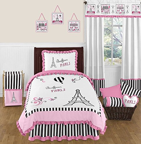 Pink, Black and White Stripe Paris 4 Piece Childrens and Kid